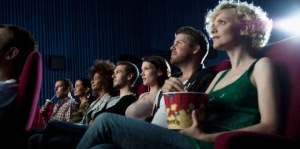 Crowd watching a movie --- Image by © Daniel Koebe/Corbis